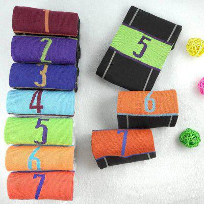 7 Pairs of Number and Stripe Pattern Socks