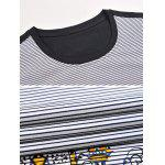 Printed Pinstriped Spliced Round Neck Short Sleeve T-Shirt ODM Designer - BLACK