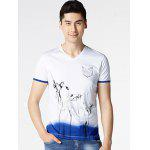 Floral Painting V-Neck Short Sleeve T-Shirt ODM Designer - WHITE