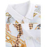 Chains Print Turn-down Collar Short Sleeve Shirt ODM Designer - WHITE