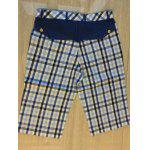 Zipper Fly Plaid Denim Shorts comprimento do joelho Emendados - AZUL