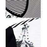 V-Neck Building Printed Striped Spliced T-Shirt ODM Designer - BLACK