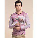 Striped 3D Vintage Car Print V-Neck Long Sleeve T-Shirt ODM Designer - RED