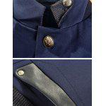 Stand Collar Single Breasted Leather Spliced Coat ODM Designer - PURPLISH BLUE