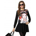 Chic Rhinestone Embellished Figure Print Women's Sweatshirt photo