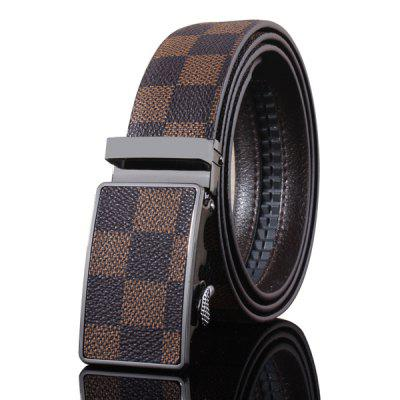Stylish Automatic Buckle Classical Checked Pattern Coffee Color Belt For Men