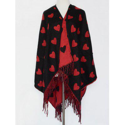 Britain Sweet Heart Pattern Outdoor Warm Tassel Pashmina Scarf