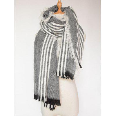 Autumn Stripe Pattern Fringed Shawl Wrap Scarf