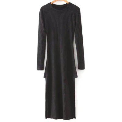 Col rond manches longues Side Slit Bodycon Sweater Dress