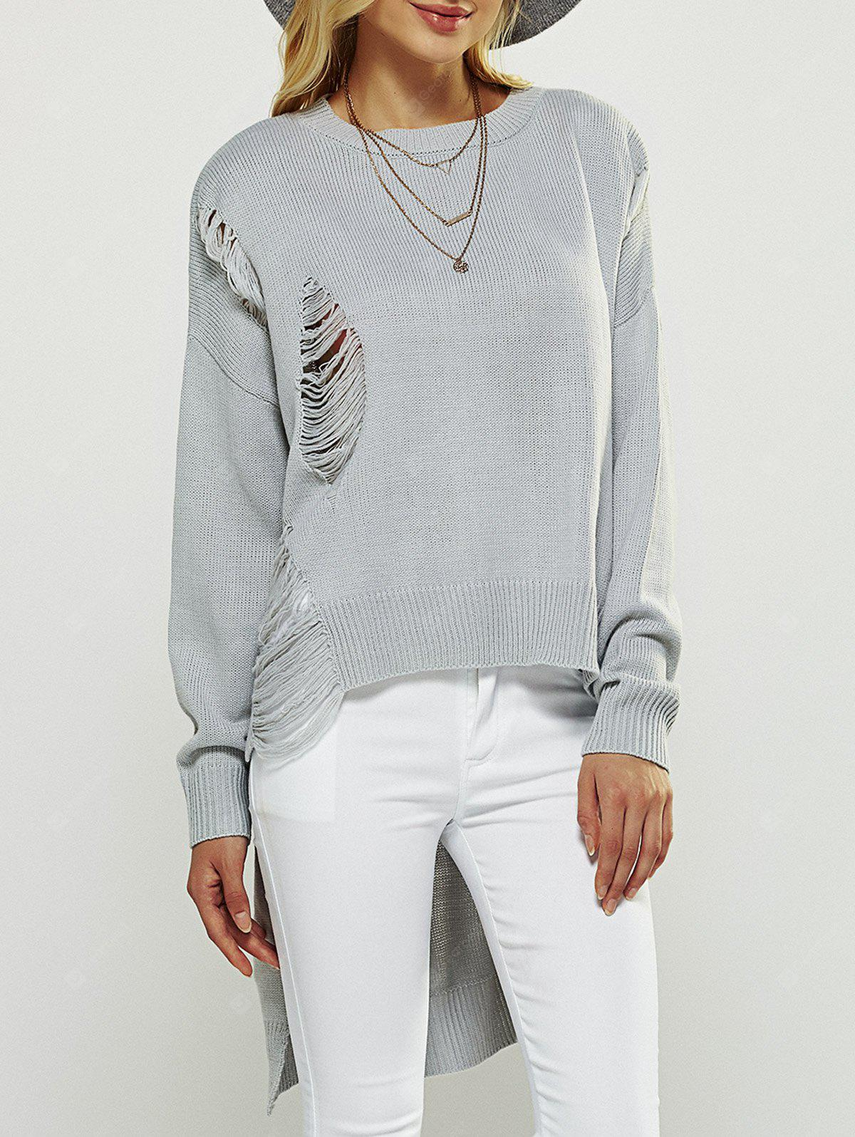 LIGHT GRAY Asymmetrical Ripped Sweater