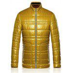 Zippered Stand Collar Long Sleeves Wadded Coat ODM Designer - YELLOW