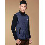 Single Breasted Argyle Quilted Spliced Jacket ODM Designer - PURPLISH BLUE