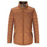 Stand Collar Geometric Padded Jacket ODM Designer - BROWN