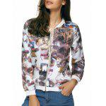 Long Sleeves Zipped Printed Jacket - WHITE