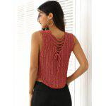 Criss-Cross Asymmetric Knitted Crop Top - LIGHT RED