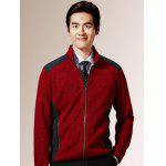 Zippered Color Splicing Napping Jacket ODM Designer - RED
