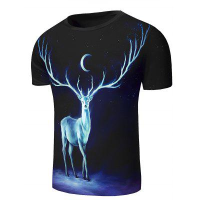 Round Neck 3D Starry Sky and Elk Print Short Sleeve Stylish T-Shirt For MenMens Short Sleeve Tees<br>Round Neck 3D Starry Sky and Elk Print Short Sleeve Stylish T-Shirt For Men<br><br>Collar: Round Neck<br>Embellishment: 3D Print<br>Material: Cotton, Polyester<br>Package Contents: 1 x T-Shirt<br>Pattern Type: Animal<br>Sleeve Length: Short<br>Style: Fashion<br>Weight: 0.200kg