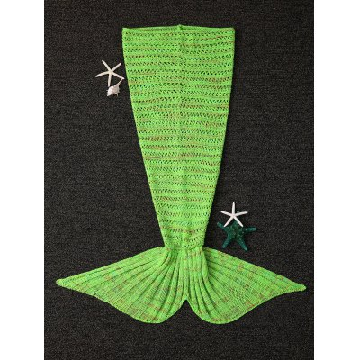 Open-Work Design Crochet Knitting Mermaid Tail Shape Blanket