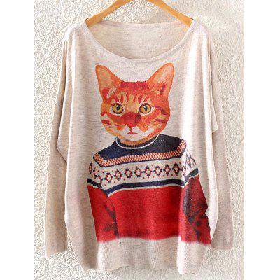 Cat Print Loose Knitwear