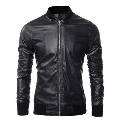 Zippered Rib Splicing Stand Collar Long Sleeves PU Leather Jacket