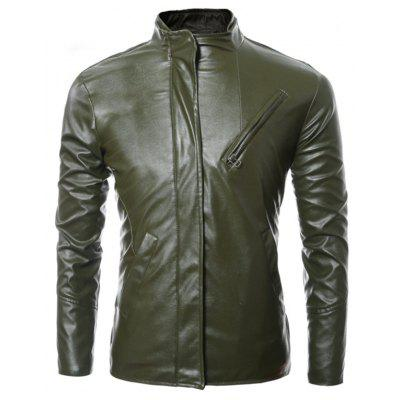 Zip laterale Leather Jacket Fino a maniche lunghe Faux