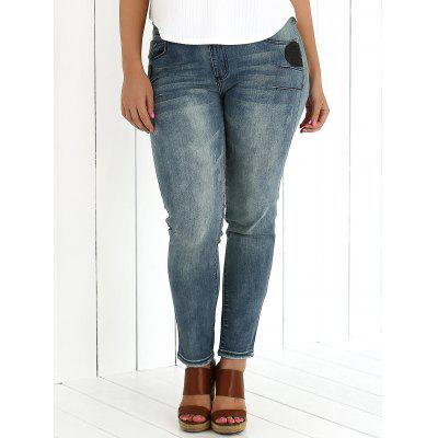 Plus Size Appliqued Crease Pencil Jeans