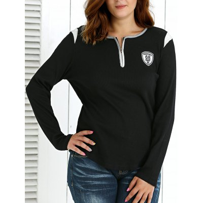 Plus Size Zipper Embellished Pullover