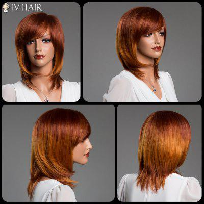 Double couleur Medium Layered Tail Adduction Straight Side Bang Siv Real Natural Hair Wig
