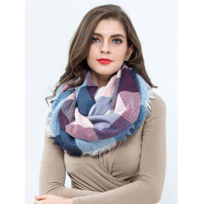 Casual Colorful Plaid Pattern Fringed Edge Shawl Scarf