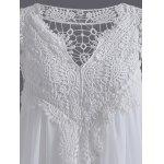 Crochet Panel Short Plus Size Shift Babydoll Dress - WHITE