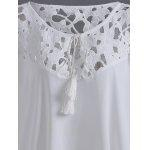 Plus Size Asymmetric Lace Splice Crochet Blusa - BRANCO