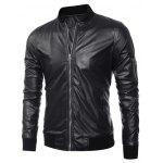 Buy Zippered Rib Splicing Stand Collar Long Sleeves PU Leather Jacket BLACK