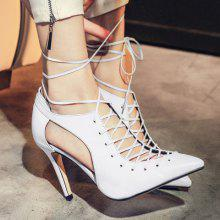 Lace-Up Pointed Toe Cut Out Pumps