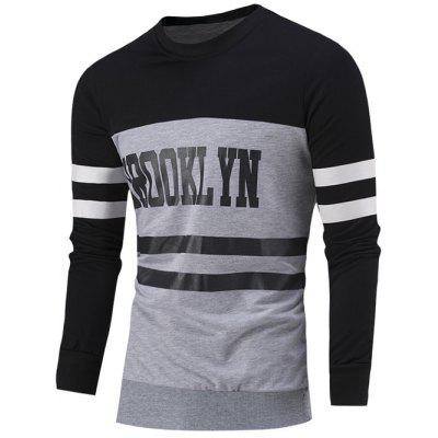 Buy BLACK Letter Print Color Block Striped Sweatshirt for $15.96 in GearBest store