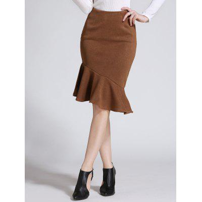 Asymmetric Fishtail Flouncing Skirt