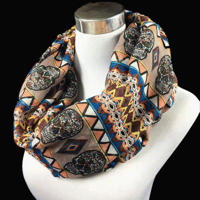 Skull and Geometry Pattern Voile Neck Scarf