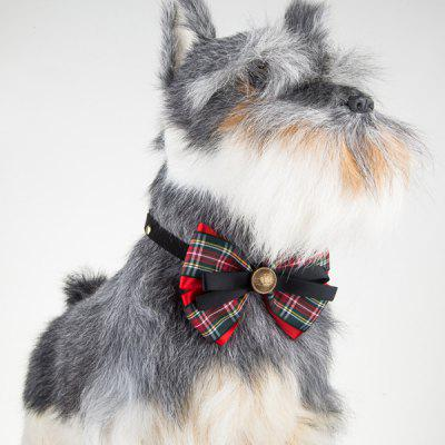 Multilayered Plaid Bowknot Adjustable Pet Collar
