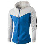 Zipper Up Color Block Striped Hoodie - WHITE