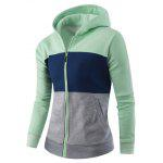 Zipper-Up Color Block Striped Hoodie - GREEN