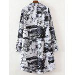 cheap Plus Size Ink Painting Button Down Dress