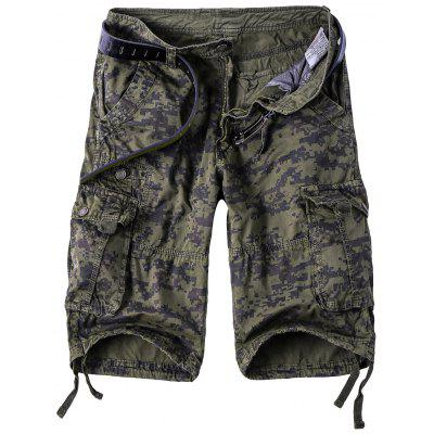 Camouflage Straight Leg Multi-Pocket Zipper Fly Cargo Shorts For Men