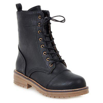 Tie Up Platform PU Leather Boots