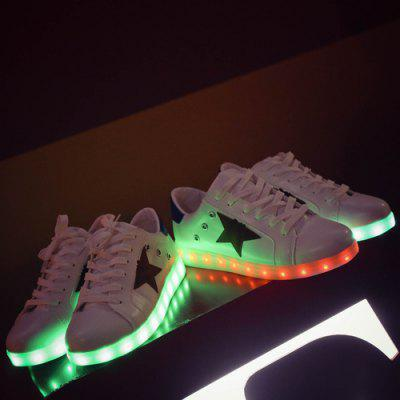 Lights Up Led Luminous Eyelets Color Block Athletic Shoes