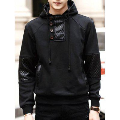Hooded PU-Leather Splicing Design Buttons Embellished Long Sleeve Hoodie
