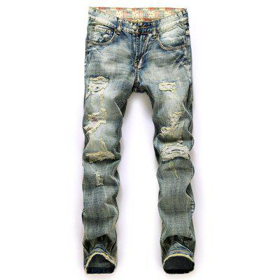 Buy BLUE Frayed Zipper Fly Straight Leg Ripped Jeans for $23.80 in GearBest store