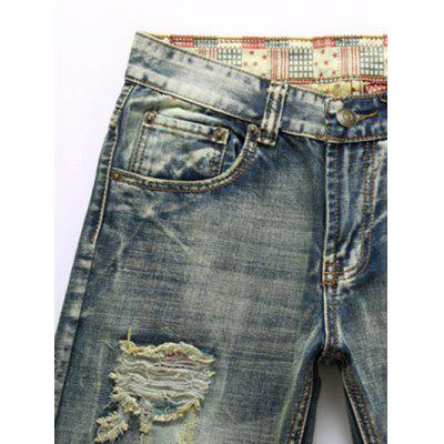 Frayed Zipper Fly Straight Leg Ripped Jeans