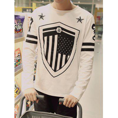 Buy WHITE Plus Size Round Neck Star and Shield Print Varsity Stripe Long Sleeve T-Shirt for $19.18 in GearBest store