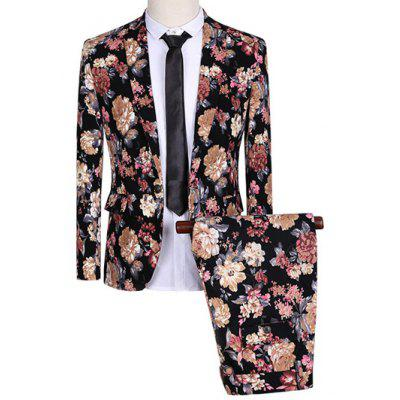 Lapel One Button Design Flowers Pattern Long Sleeve Suit (Blazer + Pants)
