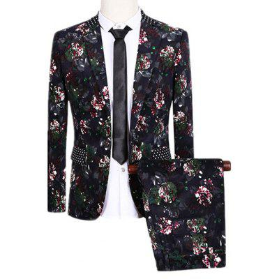Lapel One Button Design Flowers and Polka Dot Pattern Long Sleeve Suit (Blazer + Pants)