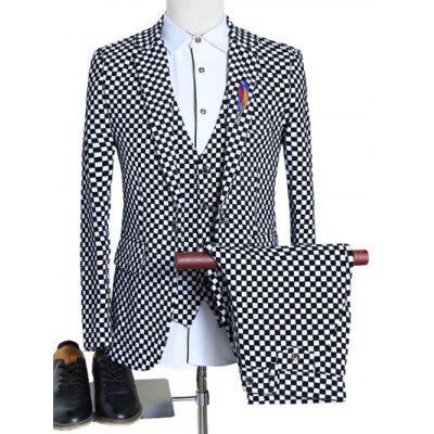 Lapel Single Breasted Long Sleeve Plaid Three-Piece Suit ( Blazer + Waistcoat + Pants )